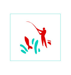 successful fishing vector image