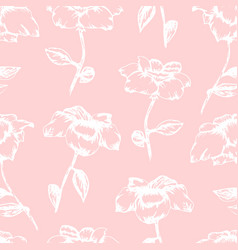 Tender pink pattern with white sketch roses vector