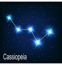 The constellation Cassiopeia star in the night sky vector