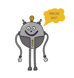 The robot is round bot talk artificial vector