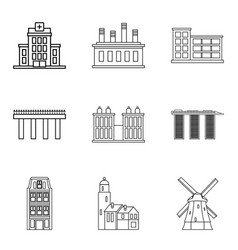 urban skyscraper icons set outline style vector image