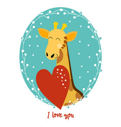 valentines day card giraffe vector image