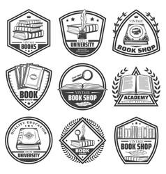 Vintage monochrome bookstore labels set vector