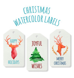 Watercolor christmas labels with deers and pine vector