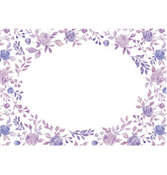 Watercolor purple flower and plant border white vector