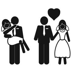 wedding couple icons vector image