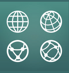 white linear globe icons set for web apps ui vector image