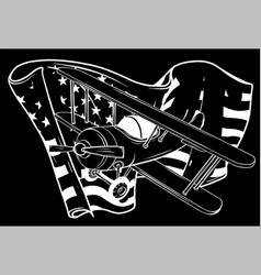 White silhouette airplane with america flag vector