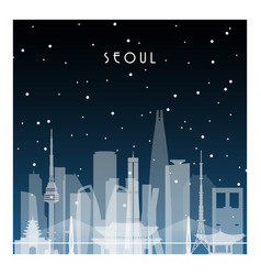 winter night in seoul night city in flat style vector image