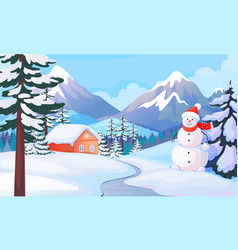 winter snowman landscape house in snowy mountain vector image