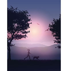 Woman running at night vector