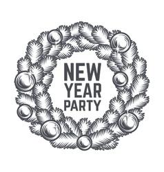 Merry Christmas wreath design Vintage vector image