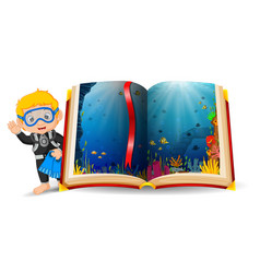 ocean scenery in the book and kid wearing a diving vector image vector image