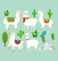 set of cute funny alpacas and vector image vector image