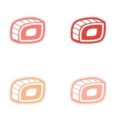 assembly sticker Sushi roll on a bright white vector image vector image