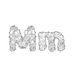flower alphabet the letter m vector image vector image