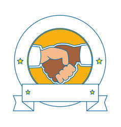 Hands with handshake agreement icon vector