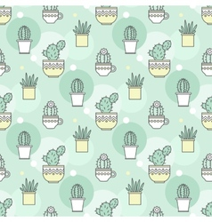 Pattern of cacti linear vector
