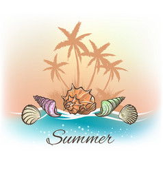 Sea shells and palm trees banner vector