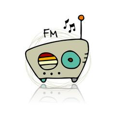 vintage radio sketch for your design vector image