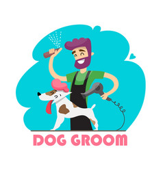 cute dog at groomer salon vector image
