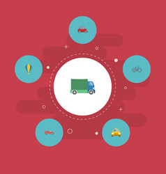 flat icons lorry cab luxury auto and other vector image vector image