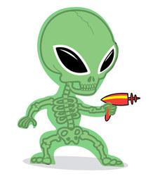 Little alien with ray gun vector