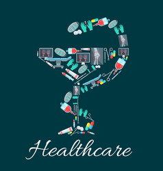 snake and cup pharmacy symbol with medical icons vector image vector image