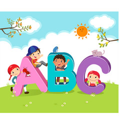 cartoon kids with abc letters vector image vector image