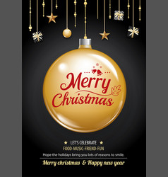 merry christmas party and gold box on dark vector image