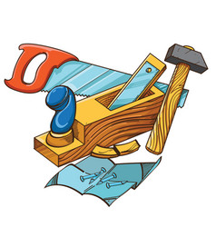 set of hammer plane saw nails vector image