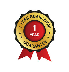 1 year guarantee badge label extended warranty vector