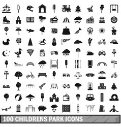 100 childrens park icons set simple style vector image vector image