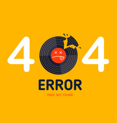 404 error page not found vinyl music broken vector