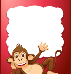 a monkey on red border vector image