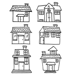 Art of house set doodles vector
