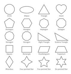 Basic geometric outline flat shapes educational vector