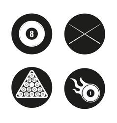 billiard icons set vector image