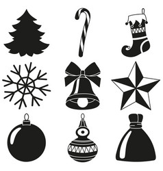 black and white 9 xmas elements silhouette set vector image