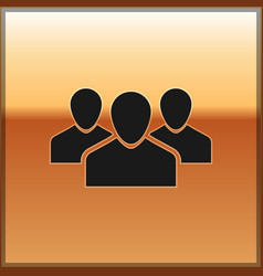 Black users group icon isolated on gold background vector