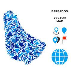 Blue triangle barbados map vector