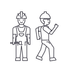 builder man thin line icon concept builder man vector image