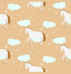 cartoon cute kid horse pattern pastel vector image