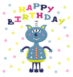 Cartoon flat greeting card with a funny alien vector
