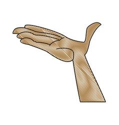Cartoon hand man open palm vector