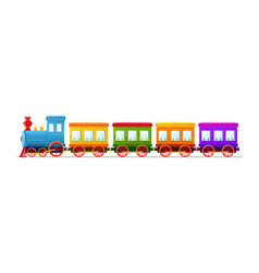 Cartoon toy train with color wagons on white vector