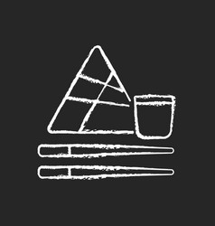 Chinese chopsticks chalk white icon on black vector
