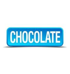 Chocolate blue 3d realistic square isolated button vector