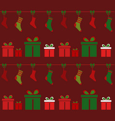 Christmas backgroundsocks and souvenirs vector