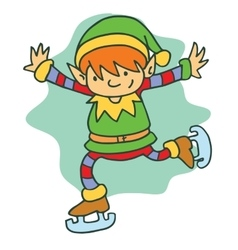 Christmas happy elf skating character vector